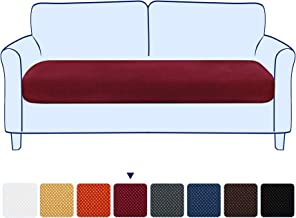 subrtex Sofa Cushion Covers for Couch Seater Removable Jacquard Stretch Furniture Seat Protector, Medium, Wine