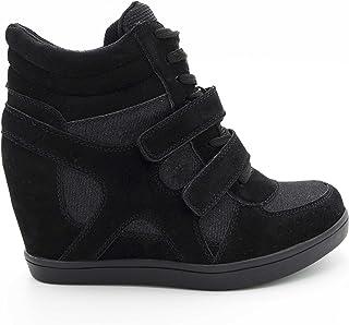 c52be0cda6 Baskets Compensées Femmes – Sneakers Tennis Casuel Montantes - Chaussure  Talon Haut – Bi-matière