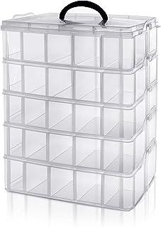 BELLE VOUS Boite de Rangement Transparente 5 Niveaux Superposables en Plastique - Compartiments Réglables - Maximum 50 Com...