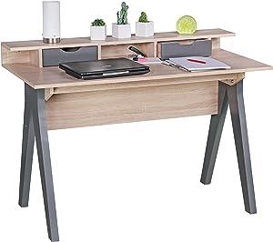 Wohnling 120 cm | Design Büro in Sonoma Eiche/Grau | Moderner Tisch mit 2 Schubladen und Stauraum | Platzsparender Computer-Schreibtisch für Laptop geeignet Escritorio, Madera, 120 x 60 x 86 cm
