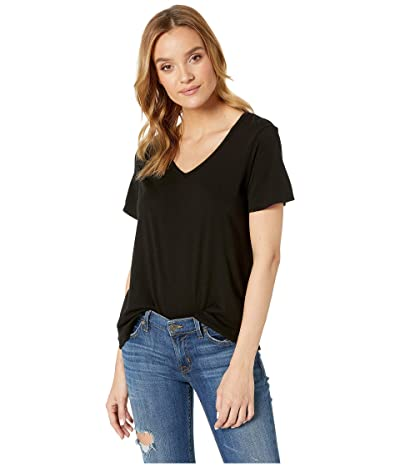 Michael Stars Skyler Ultra Jersey Relaxed V-Neck Tee (Black) Women