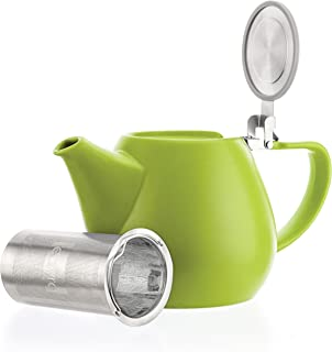 Tealyra - Jove Porcelain Large Teapot Lime - 34.0-ounce (3-4 cups) - Japanese Made - Stainless Steel Lid and Extra-Fine Infuser To Brew Loose Leaf Tea - 1000ml
