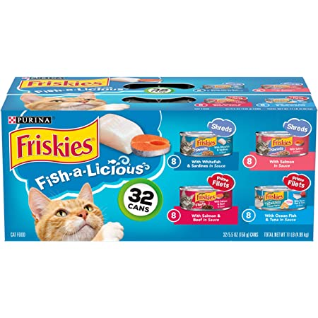 Purina Friskies Variety Pack Cat Food, Fish-A-Licious Shreds, Prime Filets & Tasty Treasures - (32) 5.5 oz. Cans