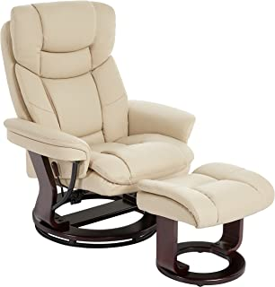 JC Home Argus Ultra Plush Bonded Leather Swiveling Recliner With Mahogany  Wood Base And Matching