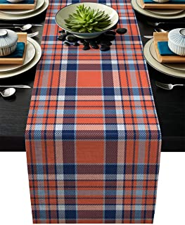 ARTSHOWING Buffalo Plaid Table Runner Party Supplies Fabric Decorations for Wedding Birthday Baby Shower 13x70inch Orange Blue Checkered Check Pattern Nordic Geometry Grid