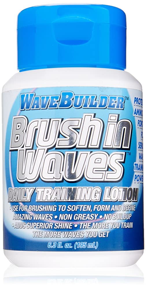 WaveBuilder Brush In Waves Daily Training Lotion | Non Greasy Formula Forms and Defines Hair Waves, 6.3 Oz