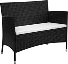 "Outdoor Bench, Garden Bench 41.7"" Poly Rattan Black"