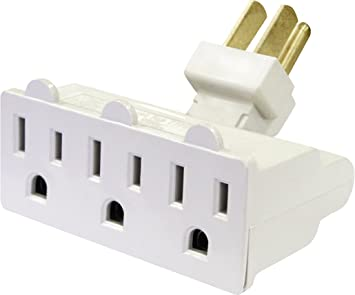 3 Outlet Grounded AC Power 2 Prong Swivel  Wall Tap Adapter