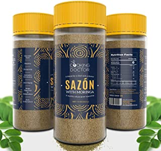 New Delicious and Nutritious All Purpose Seasoning SAZON with MORINGA & TURMERIC | ENHANCE your Steak, Poultry, Fish, Grain & Vegetables | 7.5 Oz XL Bottle | 100% Natural