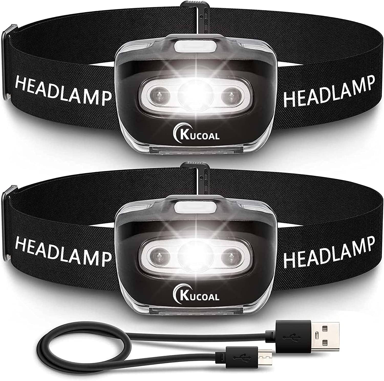 Kucoal 1500 mAh 2 Pack LED Headlamp Flashlight $11.89 Coupon
