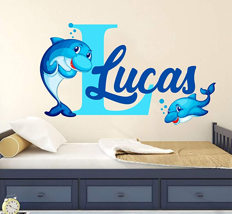 Personalized Name Wall Decal Cute Dolphin Wall Decal Vinyl Sticker Nursery For Home Bedroom Children