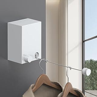 MEAJIO 室内物干しワイヤー 2021白い 白い 洗濯物干しワイヤー 最大耐重荷20KG ワイヤーの長さ4.3m ロープ伸縮可能 20キロ耐荷重 用ロープ SUS304ステンレス 防水防錆 …