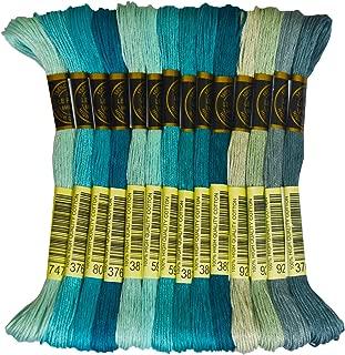 Premium Rainbow Color Embroidery Floss - Cross Stitch Threads - Friendship Bracelets Floss - Crafts Floss - 14 Skeins Per Pack Embroidery Floss, Pewter Gray Gradient