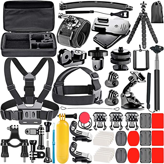 Neewer 53 en 1 Accesorios Kit Compatible con GoPro Hero 8/Hero 7 Black/Hero 6/Hero 5 Black/Hero(2018) Apeman DJI OSMO Action SJ6000 DBPOWER AKASO VicTsing Rollei Lightdow Campark