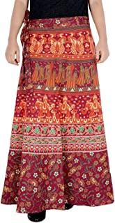 Rajvila Women's Cotton Printed Long 36 Inch Length Regular Wrap Around Skirt Colour (F_W36NT_0007)