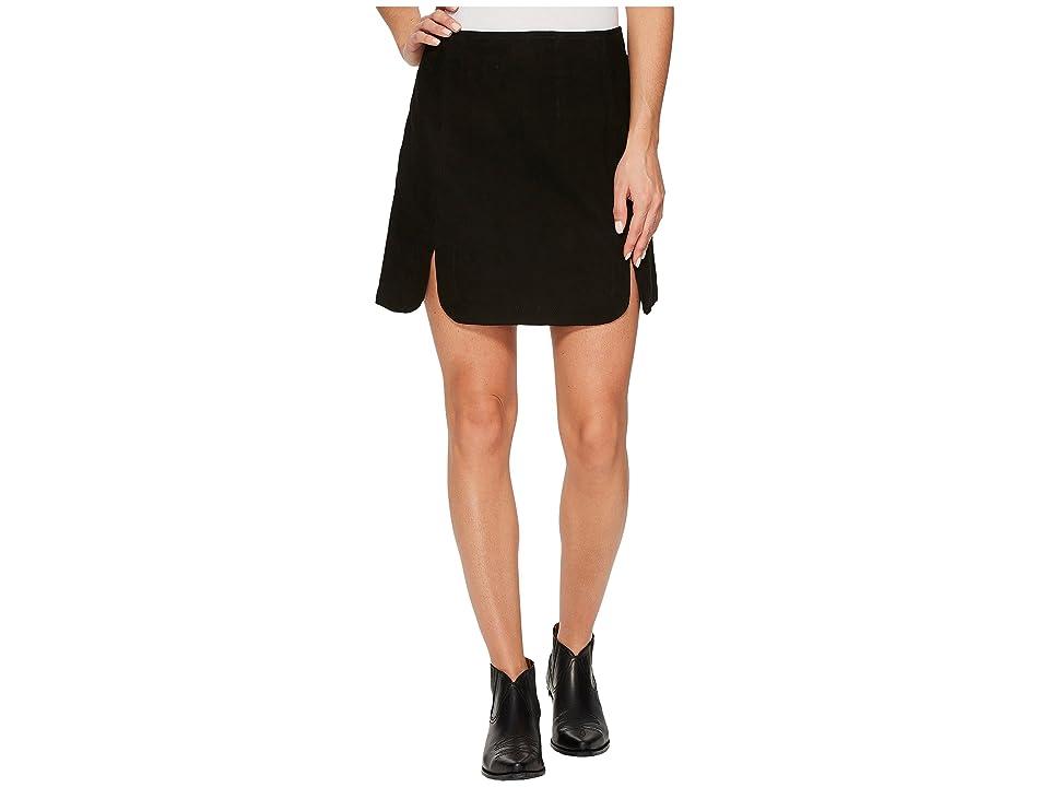 Stetson Goat Suede Scalloped Skirt (Black) Women