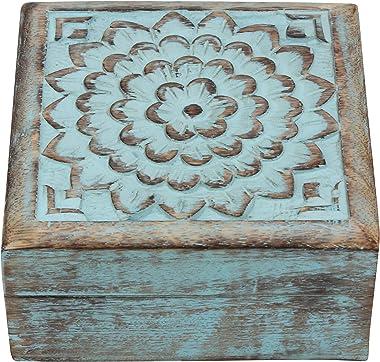 Stonebriar Vintage Worn Blue Floral Wooden Keepsake Box with Hinged Lid, Storage for Trinkets and Memorabilia, Decorative Jew