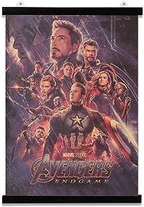 Vintage Marvel Superhero Avengers Endgame Poster With Hanger Frame Retro 20 x14 Inch Marvel Posters for Walls Avengers Room Decor for Boys Marvel Merchandise Kraft Paper Print and Black Hanger Bundle