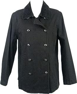 Ralph Lauren Manhattan Black Cotton Denim Military Style Peacoat Jacket 12