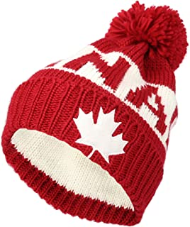 Knit US Canada Flag Union Jack Pom Beanie Hat JZP0027