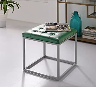 green leather ottoman