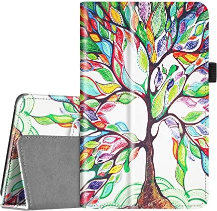 Fintie Folio Case for All-New Amazon Fire 7 Tablet (9th Generation, 2019 Release) - Slim Fit PU Leather Standing Protective Cover with Auto Wake/Sleep, Love Tree