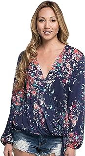 Women's Long Sleeve Floral Surplice Wrap Blouse