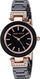 Women's Swarovski Crystal Accented Rose Gold-Tone and White Ceramic Bracelet Watch
