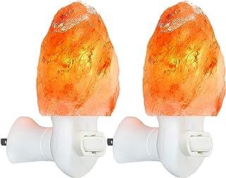 2 Pack Himalayan Salt lamp Night Light Salt Rock Hand Carved Natural Pink Himalayan Salt Lamps for bedrooms Night Light Pl...