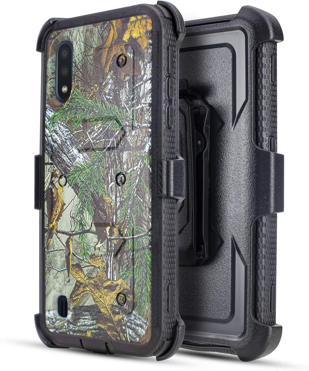 Compatible for Samsung Galaxy A01 Belt Clip Case, Jackpot Wireless Case Built-in [Screen Protector] Heavy Duty Holster Cover Phone Case [Belt Clip][Kickstand] (Camo)