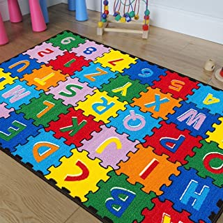 CR Kids/Baby Room/Daycare/Classroom/Playroom Area Rug. ABC Puzzle (A-Z and 1-9). Educational. Fun. Bright Colorful Vibrant Colors (3 Feet X 5 Feet)