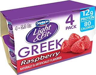 Dannon Light & Fit Nonfat Greek Yogurt, Raspberry, 5.3 Ounce (4 Pack) Greek Yogurt Cups