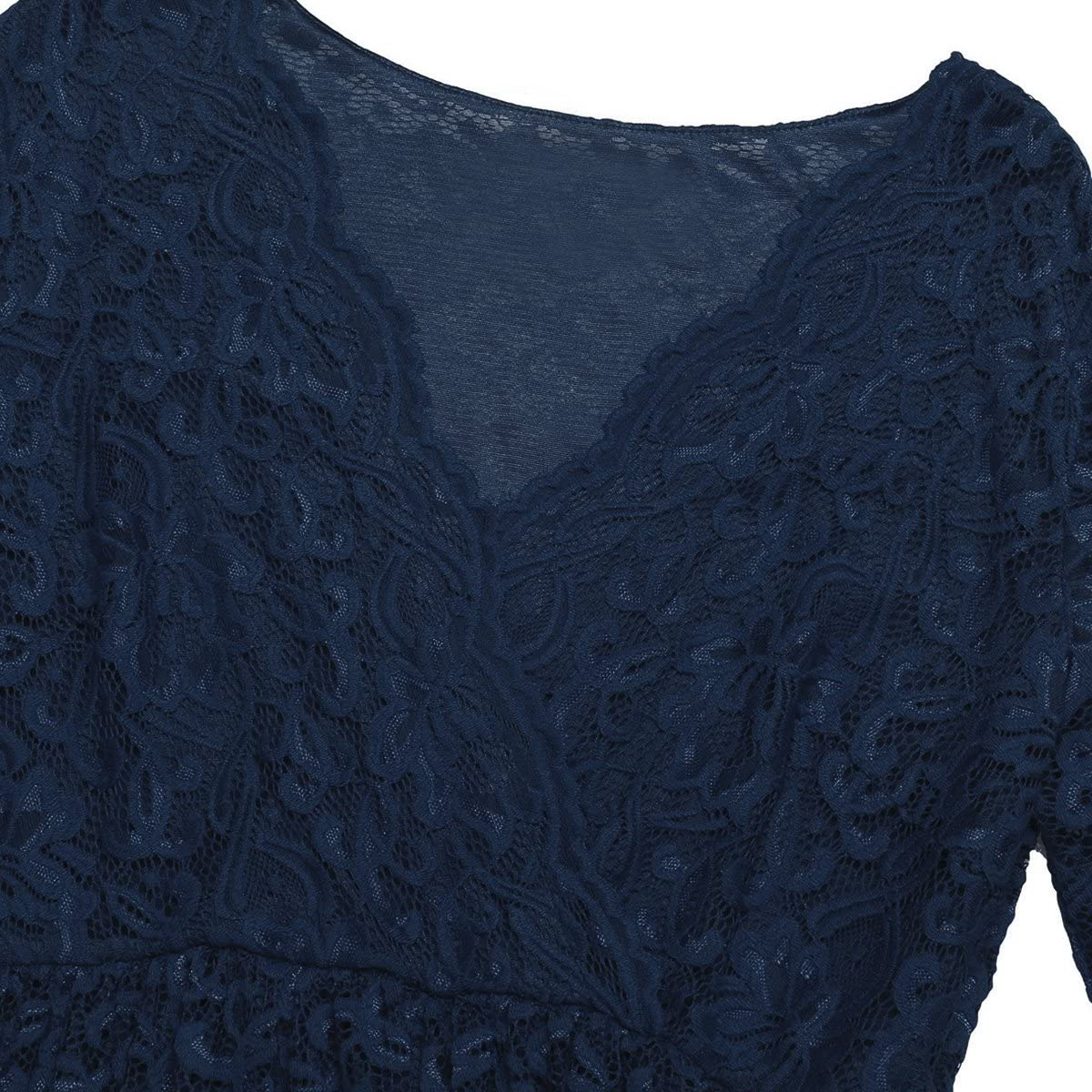 Alvivi Woman Maternity Elegant Photography Dress Floral Lace V Neck Overlay Half Sleeve Pregnant Dresses