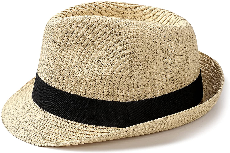 Womens Fedora Straw Sun Hat Mens Trilby Hat Short Brim Foldable Roll Up Summer UPF 50+ Panama Beach Hats