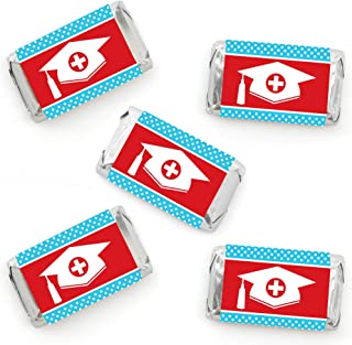 Big Dot of Happiness Nurse Graduation - Mini Candy Bar Wrapper Stickers - Medical Nursing Graduation Party Small Favors - ...