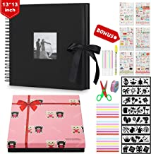 Photo Album 13 × 13 Inch, Large Size DIY Scrap Book with 8 Pcs Holiday Theme Drawing Templates Elegant Gift Box 80 Pages Scrapbook Album with Insert Photo Cover for Anniversary Wedding Travelling
