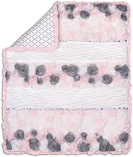 Colette Pink and Grey Floral Baby Girl Crib Quilt by The Peanut Shell