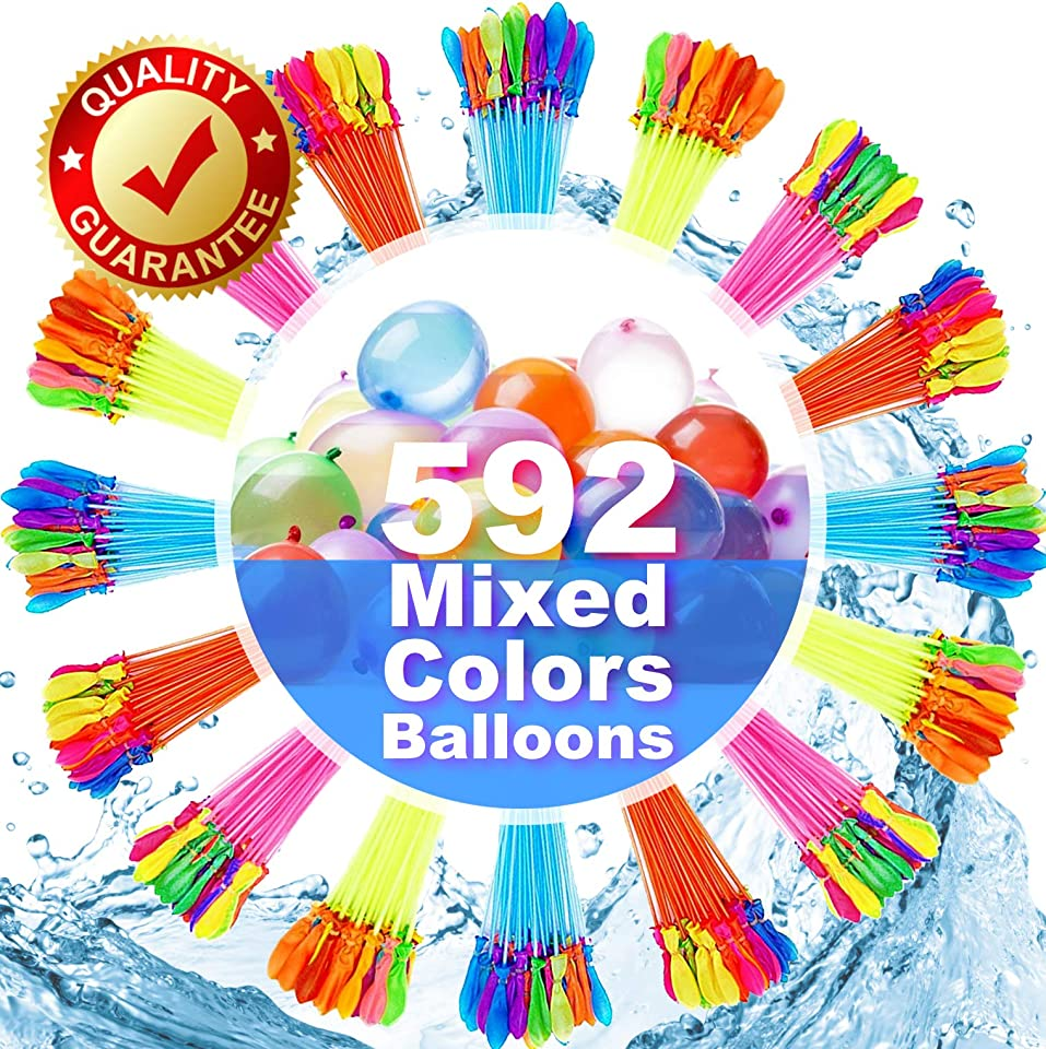 FEECHAGIER Water Balloons for Kids Girls Boys Balloons Set Party Games Quick Fill 592 Balloons for Swimming Pool Outdoor Summer Funs L1