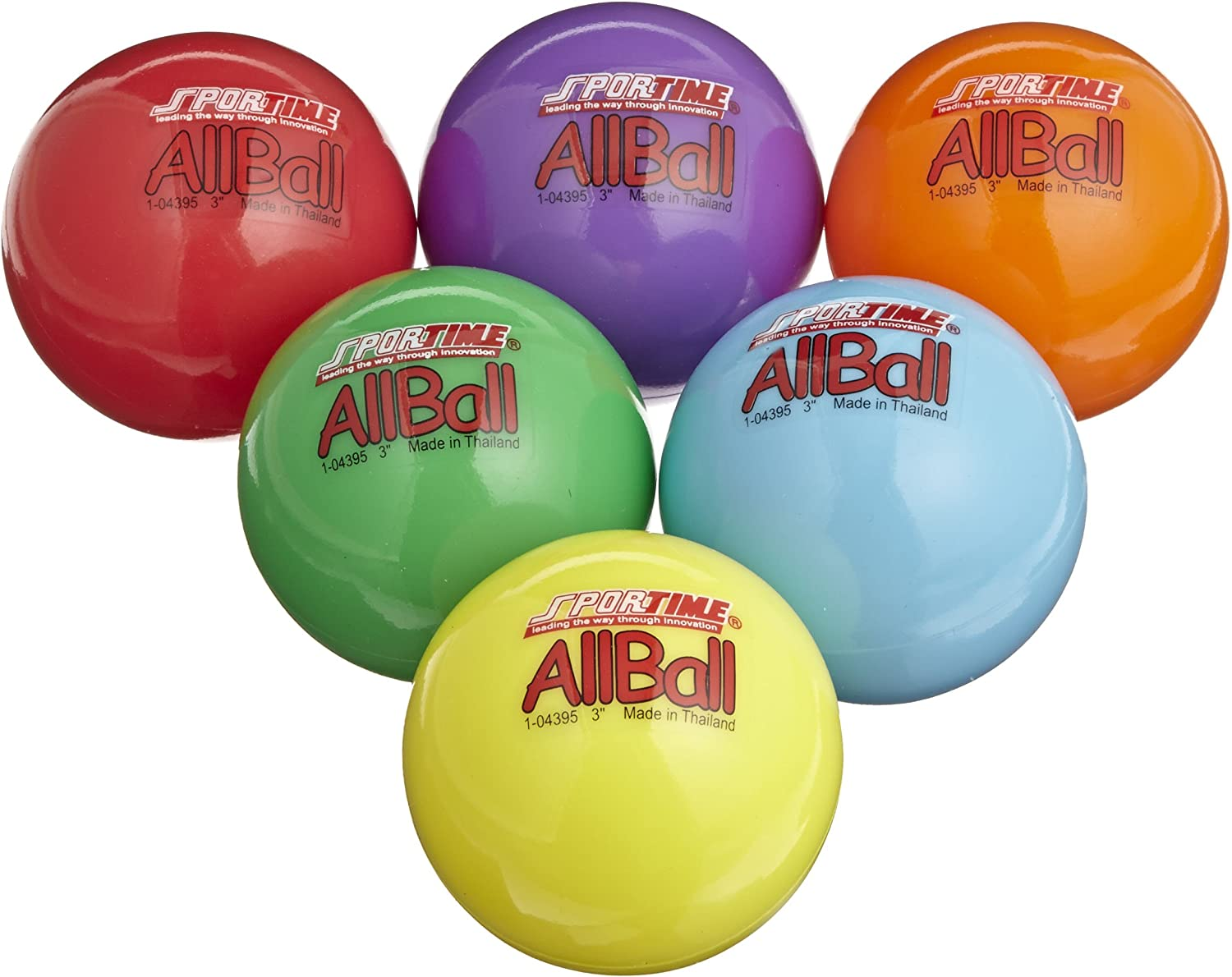 Sportime Multi-Purpose Inflatable All-Balls - 3 inch - Set of 6 - Assorted colors