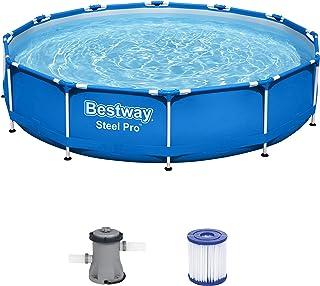 Bestway Steel Pro Framepool Set, rund, mit Filterpumpe 366 x 76 cm Piscina, Azul