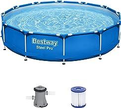 Bestway Steel Pro Framepool Set, rund, mit Filterpumpe Piscina, Azul, Ø 366 x 76 cm