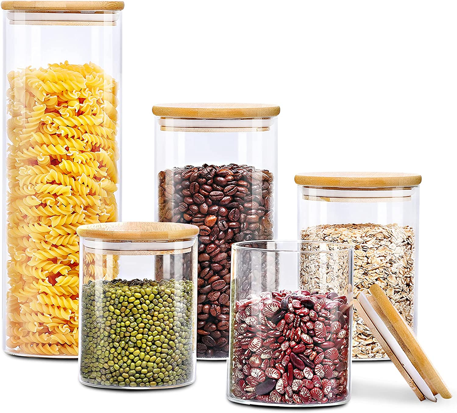 Glass Food Storage Jars Set Kitchen of 25% Safety and trust OFF 5 AIKWI Canisters
