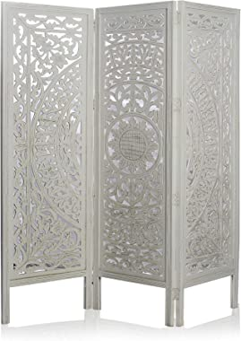 "India Overseas Trading Corporation 6 Ft. Large Room Divider 3 Panels Decorative Wooden Screen Folding Privacy Screen, Wood, 72"" (White WASH)"