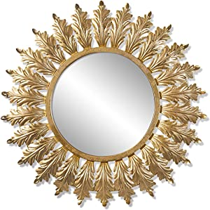 Dipamkar Espejos Pared Decorativos - Espejo de sol - Espejo de Pared para baño,Pasillo,Sala,Cocina,Estancia -Diseño French estilo Vintage - Metal, Color Dorado, 80x80x3 cm