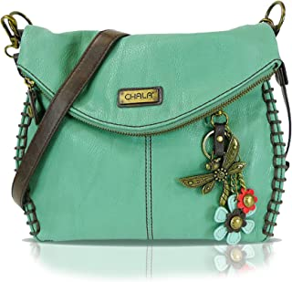 Charming Crossbody, Shoulder Purse with Detachable Metal Purse Charm in Navy/Teal Color (828-Teal-DF-1)