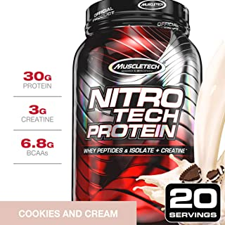 MuscleTech NitroTech Protein Powder Plus Muscle Builder, 100% Whey Protein with Whey Isolate, Cookies & Cream, 20 Servings (2lbs)