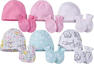 Onesies Brand Baby Girls' 12-Piece Cap and Mitten Set