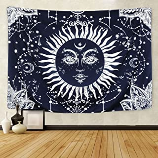 Psychedelic Moon and Sun Tapestry Wall Hanging Dark Blue White Celestial Tapestry Indian Hippy Bohemian Mandala Tapestry for Bedroom Living Room Dorm