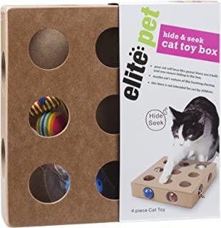 Sinobay Pet Products, Cat Toy Box for Cat, Kitten, Interactive Indoor Puzzle Box, 3 Balls and A Mouse, 17 Holes, Hide and Seek