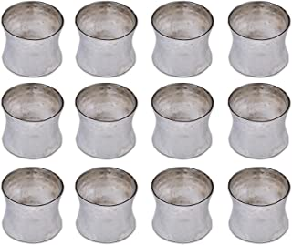 Yourtablecloth Napkin Rings or Napkin Holders – Enhanced & Appealing Table Décor for Weddings, Parties, Christmas, New Year or Every Day Use–Hammered Silver Napkin Rings– Set of 12